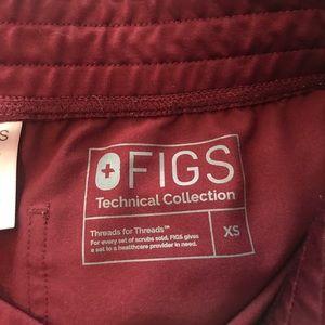 FIGS XS Burgundy Livingston scrub pants